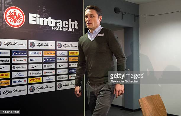 Niko Kovac is presented as new head coach of Eintracht Frankfurt during a press conference at CommerzbankArena on March 8 2016 in Frankfurt am Main...