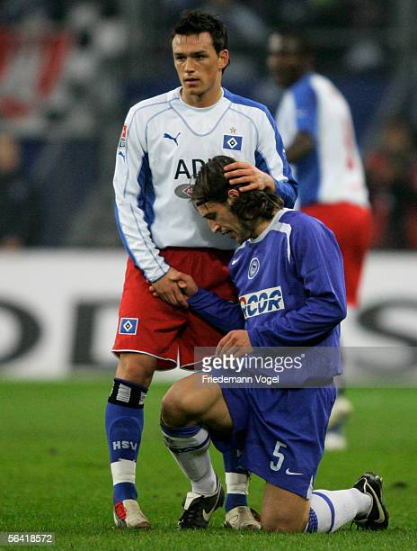 Niko Kovac of Berlin and Piotr Trochowski of Hamburg during the Bundesliga match between Hamburger SV and Hertha BSC Berlin at the AOL Arena on...