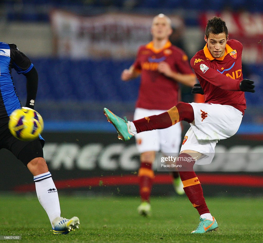 Niko Lopez of AS Roma kicks the ball during the TIM Cup match between AS Roma and Atalanta BC at Olimpico Stadium on December 11, 2012 in Rome, Italy.