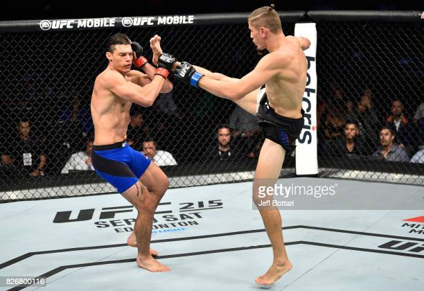 Niko Price kicks Alan Jouban in their welterweight bout during the UFC Fight Night event at Arena Ciudad de Mexico on August 5 2017 in Mexico City...