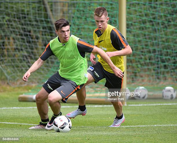 Niko Zagrafakis and Julius Kade of Hertha BSC during the training of Hertha BSC on july 4 2016 in Bad Saarow Germany