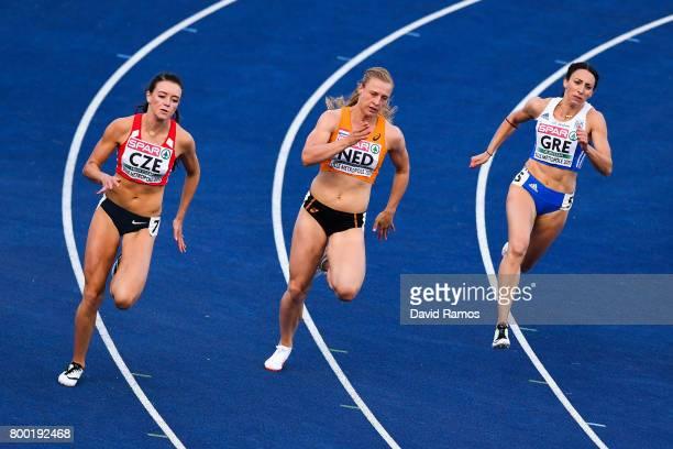 Nikola Bendova of Czech Republic Tessa van Schagen of Netherlands and Maria Belibasaki of Greece compete in the Women's 200m heat 1 during day 1 of...