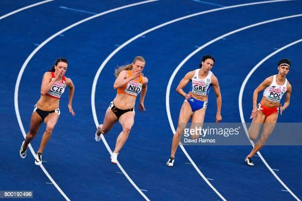 Nikola Bendova of Czech Republic Tessa van Schagen of Netherlands Maria Belibasaki of Greece and Anna Kielbasinska of Poland compete in the Women's...