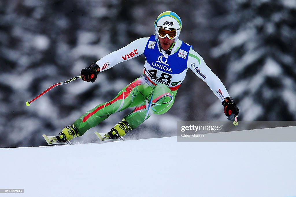 Nikola Chongarov of Bulgaria skis in the Men's Downhill during the Alpine FIS Ski World Championships on February 9, 2013 in Schladming, Austria.