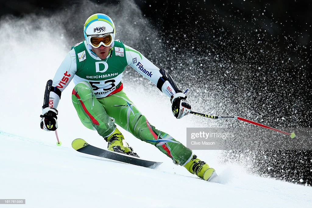 Nikola Chongarov of Bulgaria skis in the Men's Giant Slalom during the Alpine FIS Ski World Championships on February 15, 2013 in Schladming, Austria.