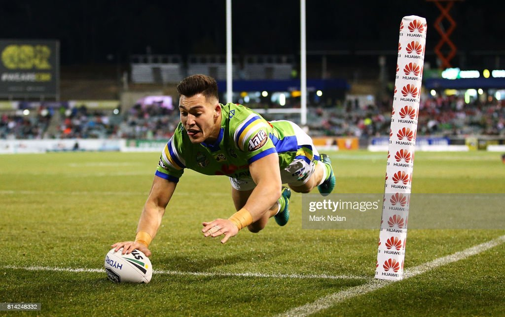 Nikola Cotric of the Raiders dives to score during the round 19 NRL match between the Canberra Raiders and the St George Illawarra Dragons at GIO Stadium on July 14, 2017 in Canberra, Australia.
