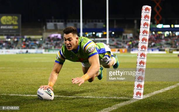Nikola Cotric of the Raiders dives to score during the round 19 NRL match between the Canberra Raiders and the St George Illawarra Dragons at GIO...