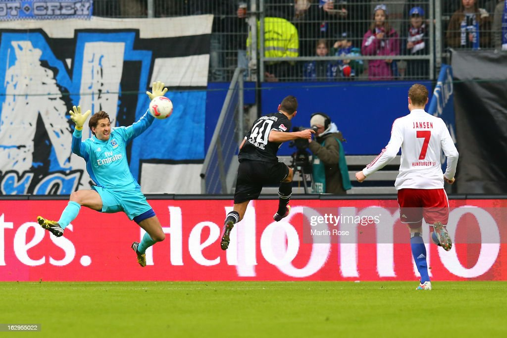 Nikola Djurdjic (c) of Greuther Fuerth scores his team's first goal past Rene Adler of Hamburger SV during the Bundesliga match between Hamburger SV and Greuther Fuert at Imtech Arena on March 2, 2013 in Hamburg, Germany.