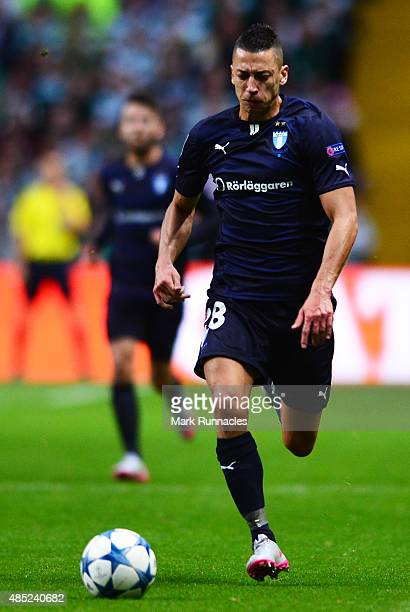 Nikola Djurdjic of Malmo in action during the UEFA Champions League Qualifying play off first leg match between Celtic FC and Malmo FF at Celtic Park...