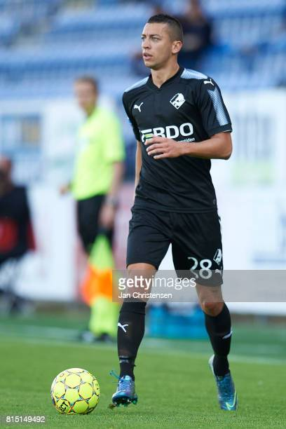 Nikola Djurdjic of Randers FC controls the ball during the Danish Alka Superliga match between SonderjyskE and Randers FC at Sydbank Park on July 15...