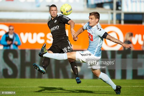 Nikola Djurdjic of Randers FC in action during the Danish Alka Superliga match between SonderjyskE and Randers FC at Sydbank Park on July 15 2017 in...