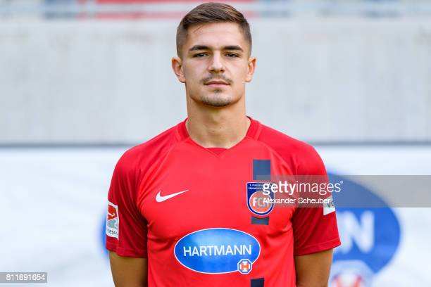 Nikola Dovedan of 1 FC Heidenheim poses during the team presentation at Voith Arena on July 8 2017 in Heidenheim Germany