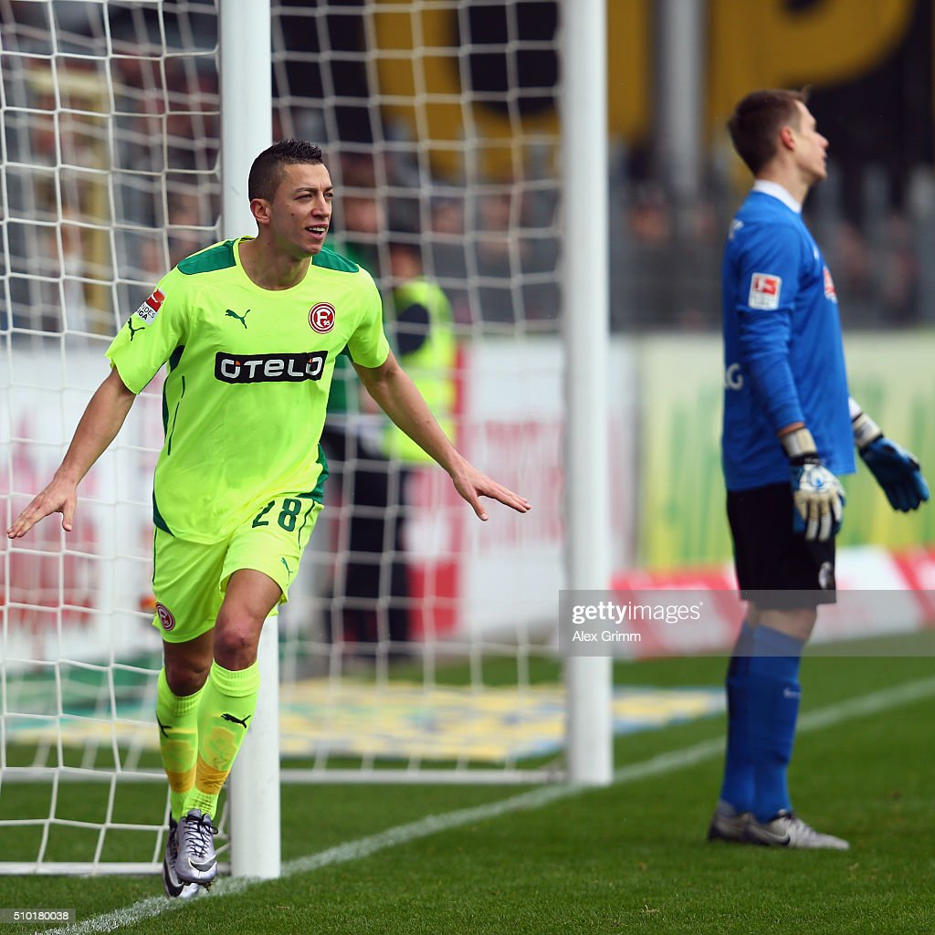 Nikola Durdic of Duesseldorf celebrates his team's first goal during the Second Bundesliga match between SC Freiburg and Fortuna Duesseldorf at Schwarzwald-Stadion on February 14, 2016 in Freiburg im Breisgau, Germany.