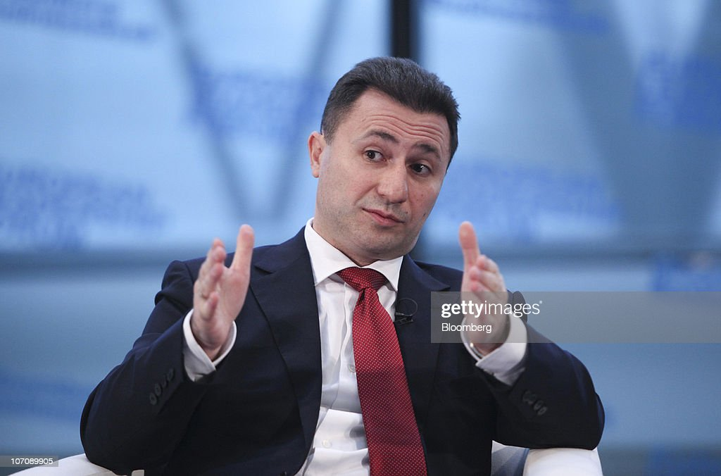 <a gi-track='captionPersonalityLinkClicked' href=/galleries/search?phrase=Nikola+Gruevski&family=editorial&specificpeople=567539 ng-click='$event.stopPropagation()'>Nikola Gruevski</a>, Macedonia's prime minister, gestures during the 10th Bloomberg BusinessWeek European Leadership Forum, in London, U.K., on Tuesday, Nov. 23, 2010. The one day conference brings together key speakers from Government, Finance and International companies at City Hall, in London. Photographer: Chris Ratcliffe/Bloomberg via Getty Images