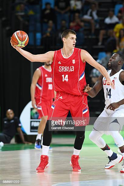 Nikola Jokic of Serbia handles the ball against the USA Basketball Men's National Team on Day 7 of the Rio 2016 Olympic Games at Carioca Arena 1 on...