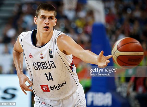 Nikola Jokic of Serbia in action during the 2016 FIBA World Olympic Qualifying basketball Final match between Serbia and Puerto Rico at Kombank Arena...
