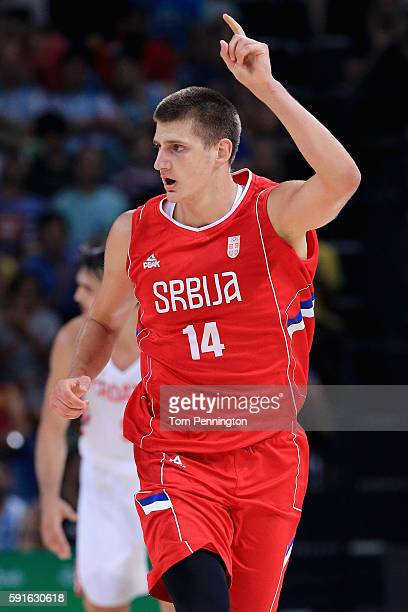 Nikola Jokic of Serbia reacts after scoring against Croatia during the Men's Basketball Quarterfinal game at Carioca Arena 1 on Day 12 of the Rio...