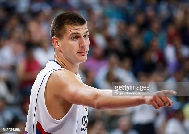 Nikola Jokic of Serbia reacts during the 2016 FIBA World Olympic Qualifying basketball Group A match between Serbia and Puerto Rico at Kombank Arena...