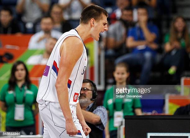 Nikola Jokic of Serbia reacts during the 2016 FIBA World Olympic Qualifying basketball Semi Final match between Serbia and Czech Republic at Kombank...