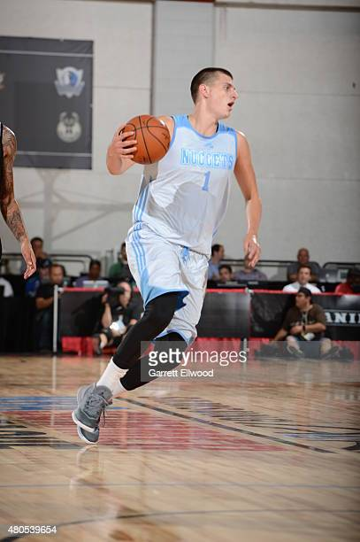 Nikola Jokic of the Denver Nuggets dribbles the ball against the Sacramento Kings on July 12 2015 at the Cox Pavilion in Las Vegas Nevada NOTE TO...