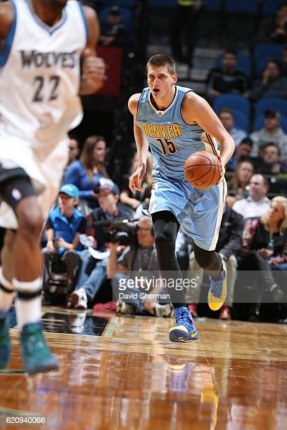 Nikola Jokic of the Denver Nuggets drives to the basket against the Minnesota Timberwolves during the game on November 3 2016 at Target Center in...