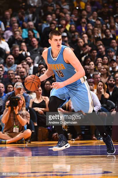 Nikola Jokic of the Denver Nuggets drives to the basket against the Los Angeles Lakers during the game on January 17 2017 at STAPLES Center in Los...