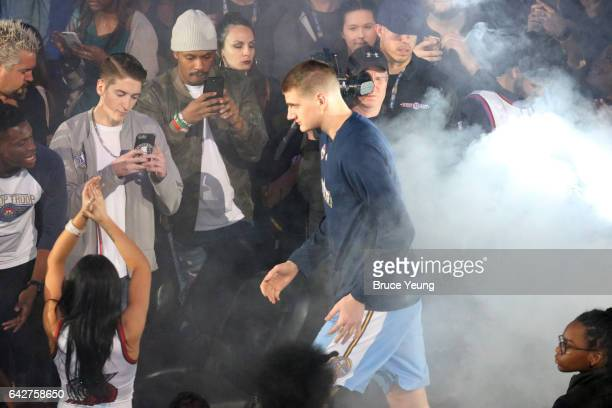 Nikola Jokic of the Denver Nuggets gets introduced before the Taco Bell Skills Challenge during State Farm AllStar Saturday Night as part of the 2017...