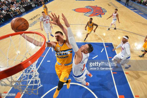 Nikola Jokic of the Denver Nuggets goes to the basket against the New York Knicks on February 10 2017 at Madison Square Garden in New York City New...