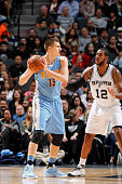 Nikola Jokic of the Denver Nuggets goes to the basket against the San Antonio Spurs on November 18 2015 at the ATT Center in San Antonio Texas NOTE...