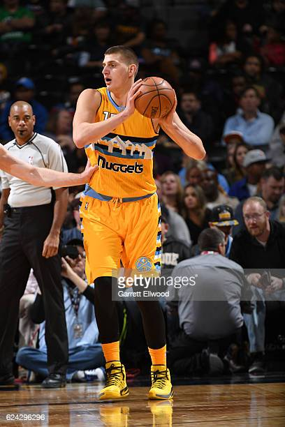 Nikola Jokic of the Denver Nuggets handles the ball against the Toronto Raptors on November 18 2016 at the Pepsi Center in Denver Colorado NOTE TO...