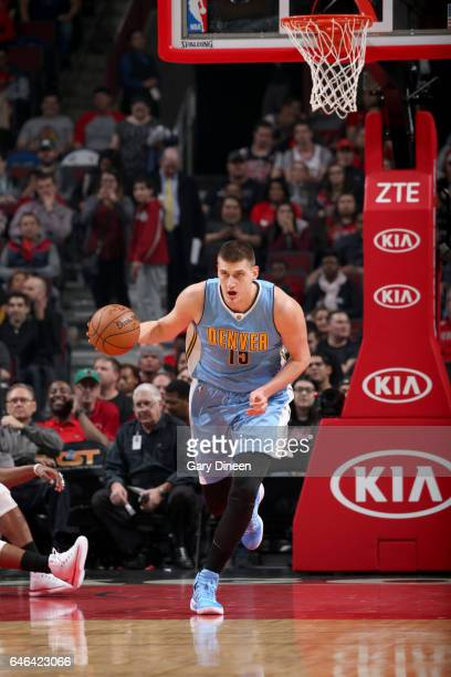 Nikola Jokic of the Denver Nuggets handles the ball against the Chicago Bulls on February 28 2017 at the United Center in Chicago Illinois NOTE TO...