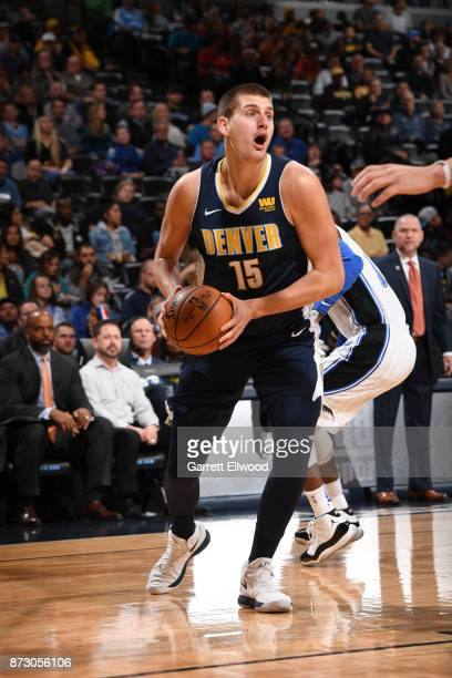 Nikola Jokic of the Denver Nuggets handles the ball against the Orlando Magic on November 11 2017 at the Pepsi Center in Denver Colorado NOTE TO USER...