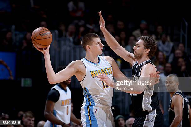 Nikola Jokic of the Denver Nuggets handles the ball against the San Antonio Spurs on January 5 2017 at the Pepsi Center in Denver Colorado NOTE TO...