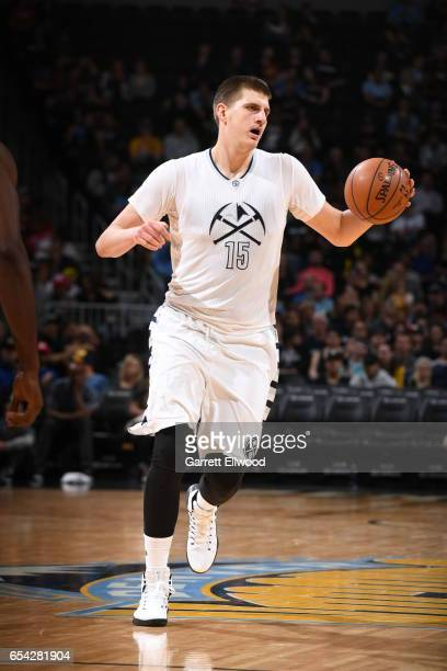 Nikola Jokic of the Denver Nuggets handles the ball against the LA Clippers during the game on March 16 2017 at the Pepsi Center in Denver Colorado...