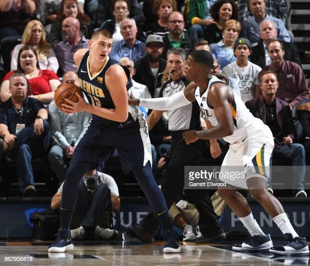 Nikola Jokic of the Denver Nuggets handles the ball against the Utah Jazz during the game on October 18 2017 at vivintSmartHome Arena in Salt Lake...