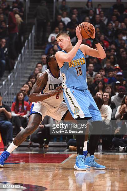 Nikola Jokic of the Denver Nuggets handles the ball during a game against the LA Clippers on December 26 2016 at the STAPLES Center in Los Angeles...