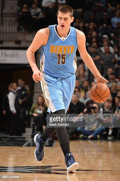Nikola Jokic of the Denver Nuggets handles the ball during a game against the San Antonio Spurs on January 19 2017 at the ATT Center in San Antonio...