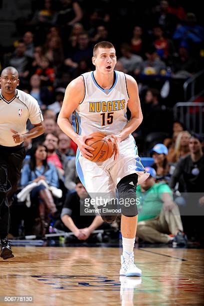 Nikola Jokic of the Denver Nuggets handles the ball during the game against the Atlanta Hawks on January 25 2016 at the Pepsi Center in Denver...