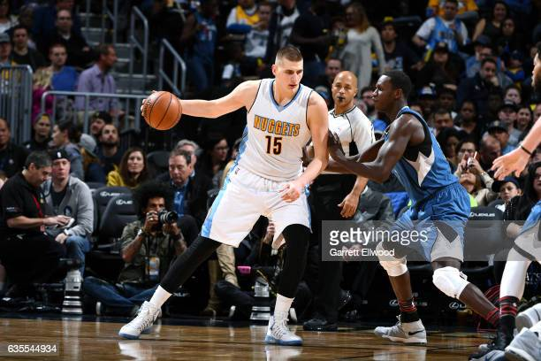 Nikola Jokic of the Denver Nuggets handles the ball during the game against the Minnesota Timberwolves on February 15 2017 at the Pepsi Center in...