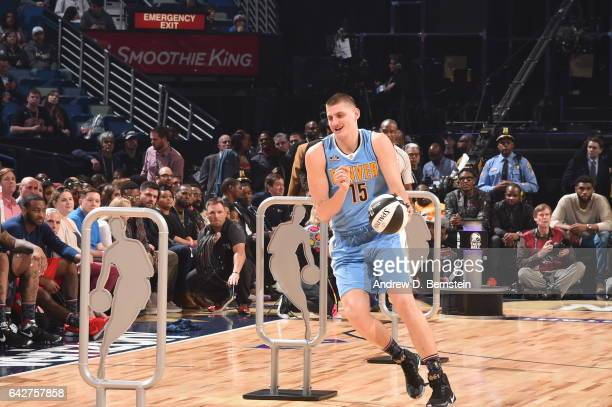 Nikola Jokic of the Denver Nuggets handles the balll during the Taco Bell Skills Challenge during State Farm AllStar Saturday Night as part of the...