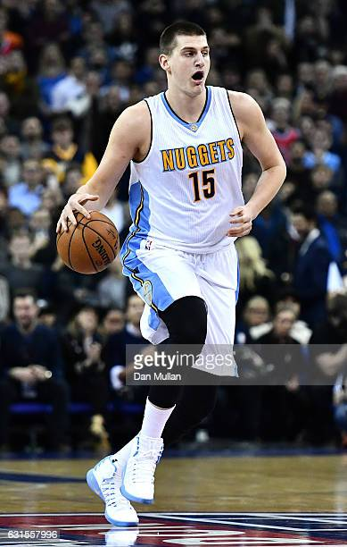 Nikola Jokic of the Denver Nuggets in action during the NBA match between Indiana Pacers and Denver Nuggets at the O2 Arena on January 12 2017 in...