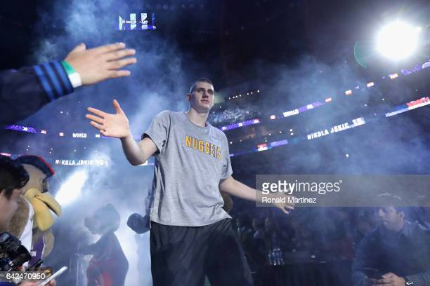 Nikola Jokic of the Denver Nuggets is introduced prior to the 2017 BBVA Compass Rising Stars Challenge at Smoothie King Center on February 17 2017 in...