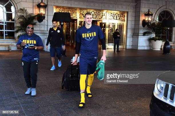 Nikola Jokic of the Denver Nuggets leaves the hotel for practice prior to the game against the Utah Jazz on October 18 2017 at the Vivint Smart Home...