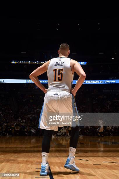Nikola Jokic of the Denver Nuggets looks on during the game against the Minnesota Timberwolves on February 15 2017 at the Pepsi Center in Denver...