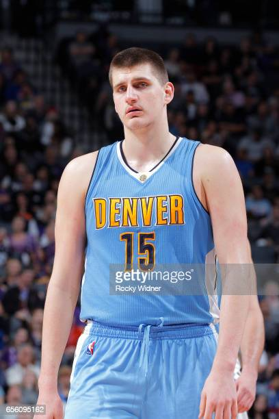 Nikola Jokic of the Denver Nuggets looks on during the game against the Sacramento Kings on March 11 2017 at Golden 1 Center in Sacramento California...