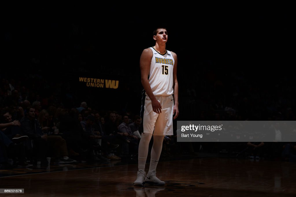 Nikola Jokic #15 of the Denver Nuggets looks on during the game against the Toronto Raptors on November 1, 2017 at the Pepsi Center in Denver, Colorado.