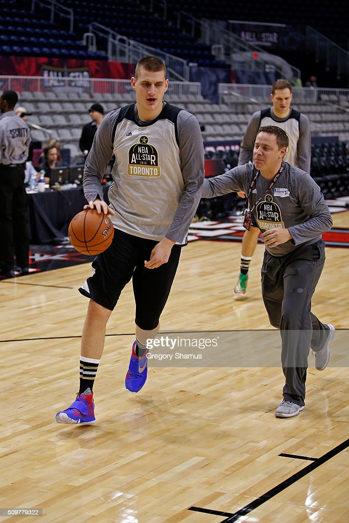 <a gi-track='captionPersonalityLinkClicked' href=/galleries/search?phrase=Nikola+Jokic&family=editorial&specificpeople=12732315 ng-click='$event.stopPropagation()'>Nikola Jokic</a> #15 of the Denver Nuggets participates during the BBVA Rising Stars Challenge Practice as part of 2016 All-Star Weekend at NBA Centre Court of the Enercare Centre on February 12, 2016 in Toronto, Ontario, Canada.