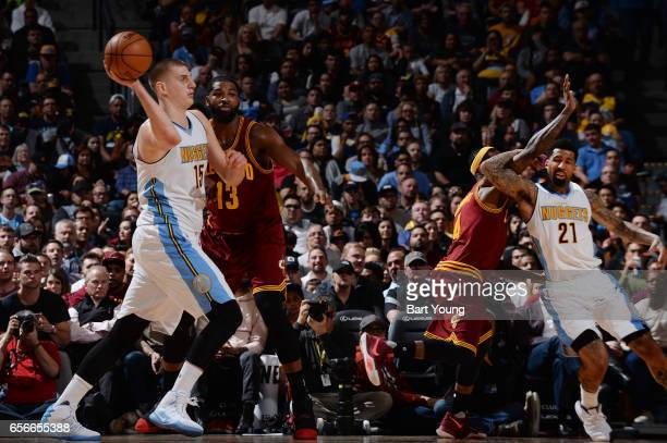 Nikola Jokic of the Denver Nuggets passes the ball during the game against the Cleveland Cavaliers on March 22 2017 at the Pepsi Center in Denver...