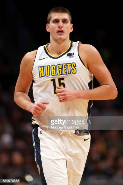 Nikola Jokic of the Denver Nuggets plays the Oklahoma City Thunder at the Pepsi Center on October 10 2017 in Denver Colorado