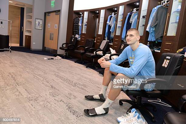 Nikola Jokic of the Denver Nuggets prepares before the game against the Orlando Magic on December 8 2015 at the Pepsi Center in Denver Colorado NOTE...